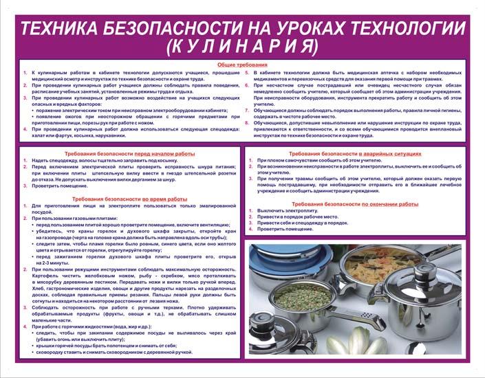 стенд для шкоы кулинария - магазин охраны труда
